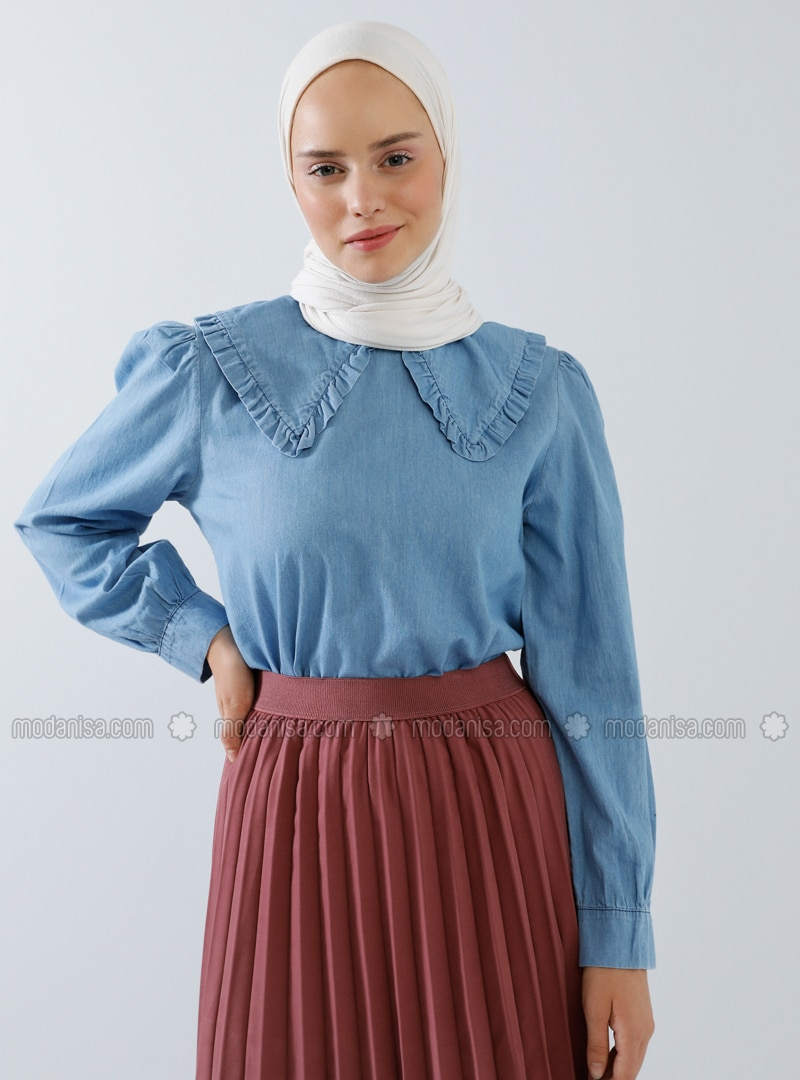 Blue - Crew neck - Denim -  - Blouses