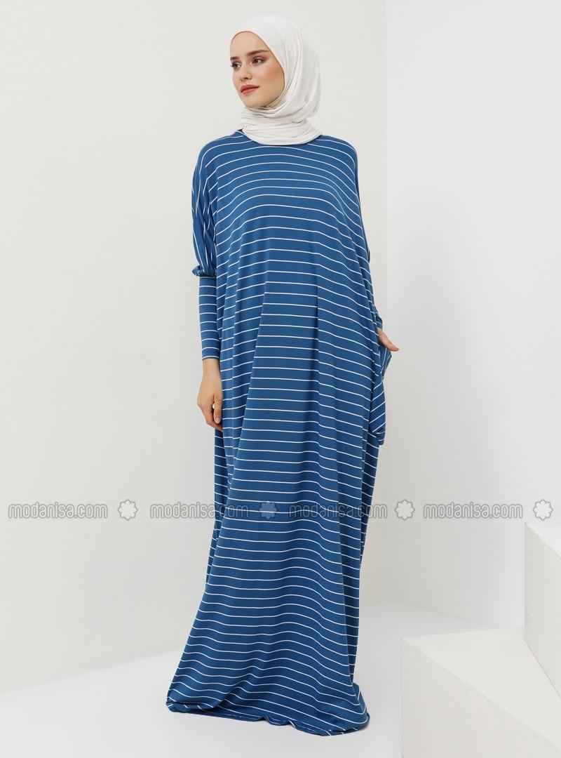 Blue - Stripe - Crew neck - Unlined - Viscose - Dress