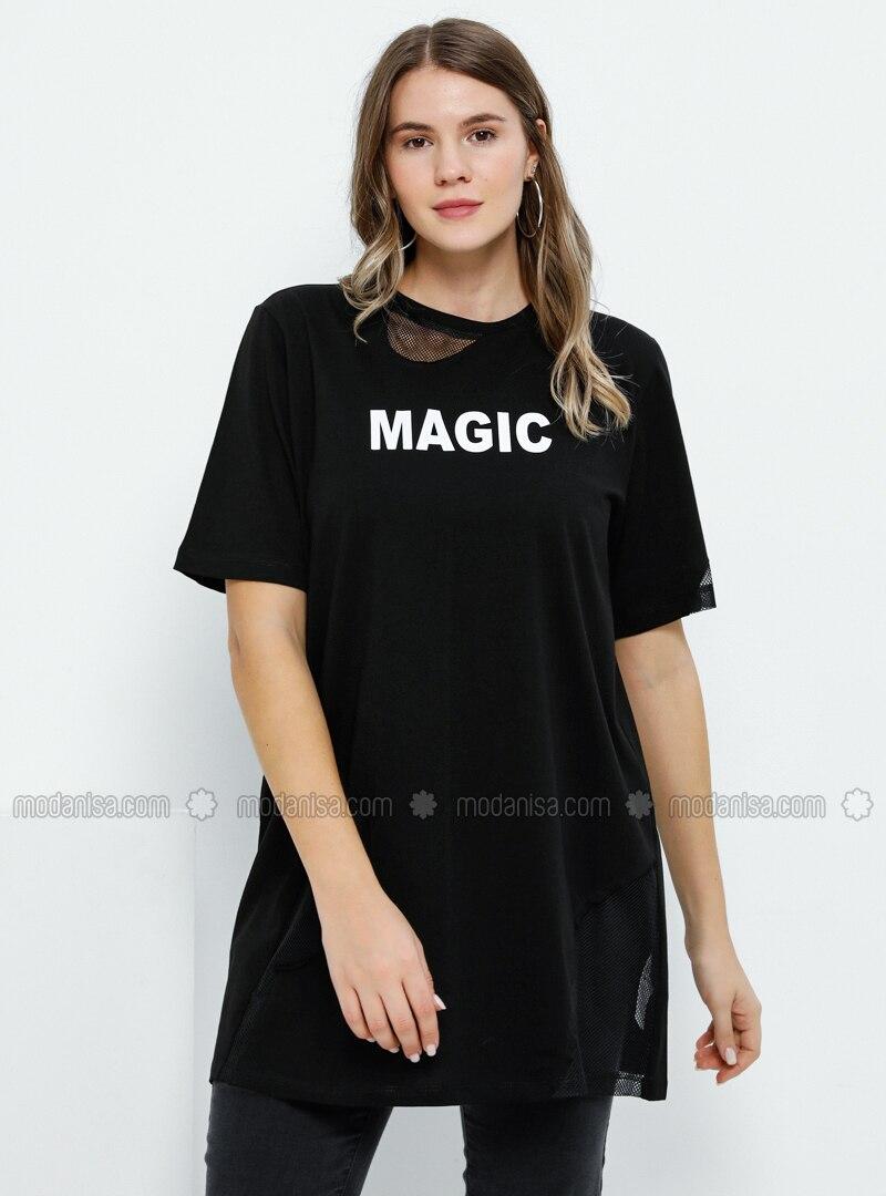 Black - Crew neck -  - Plus Size Tunic