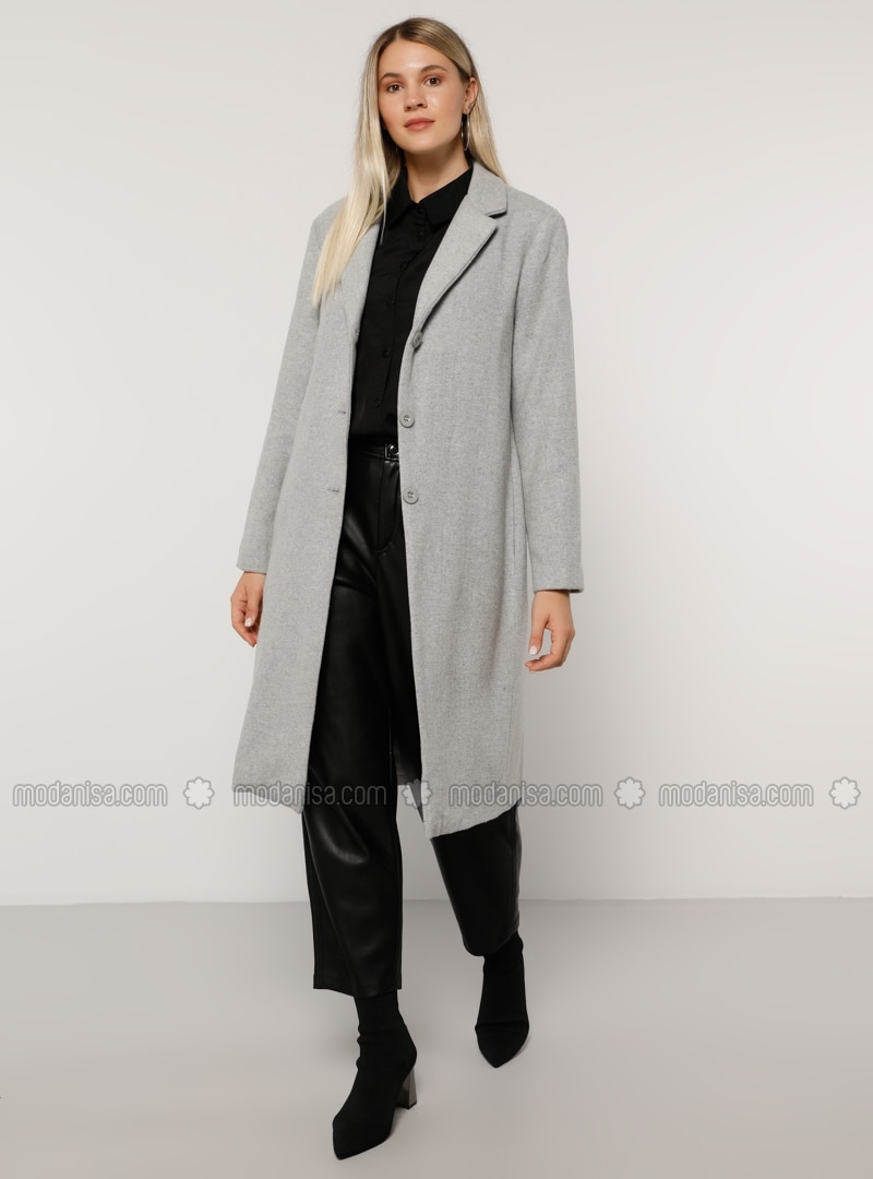 Gray - Fully Lined - Acrylic - - Plus Size Overcoat