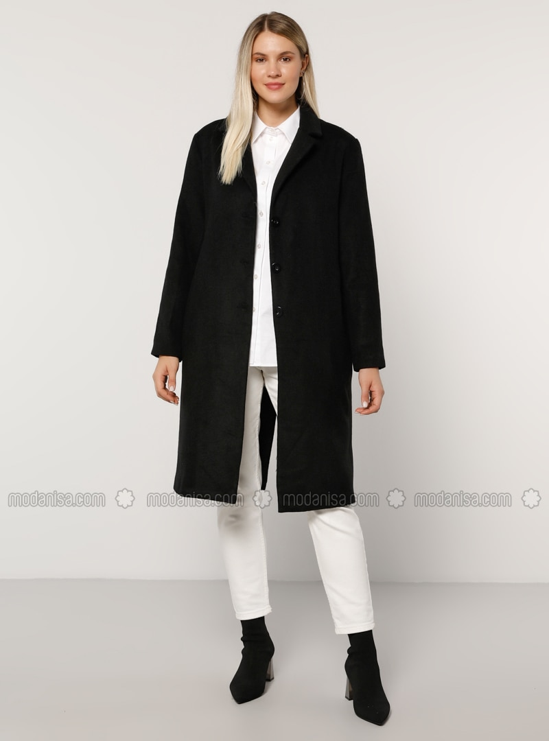 Black - Fully Lined - Acrylic -  - Plus Size Overcoat