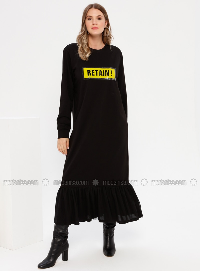 Black - Unlined - Crew neck -  - Plus Size Dress