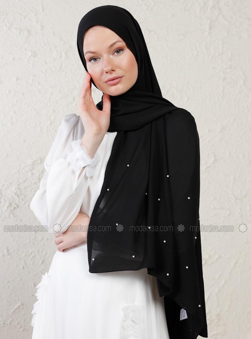 Black - Plain - Litho - Crepe - Shawl - Şal