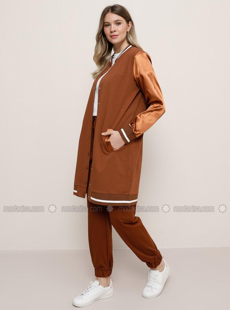 Tan - Unlined - Crew neck -  - Plus Size Coat