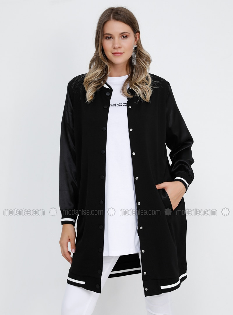 Black - Unlined - Crew neck -  - Plus Size Coat