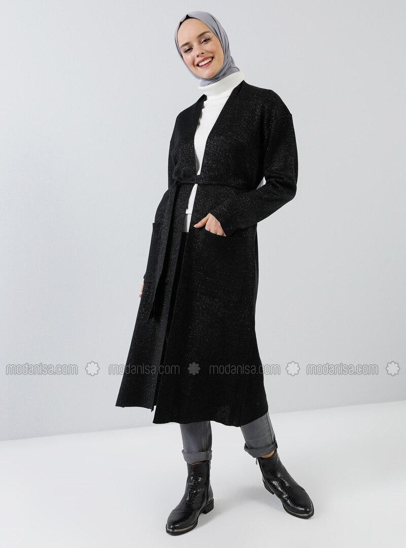 Black - Acrylic - Metal Thread -  - Viscose - Cardigan