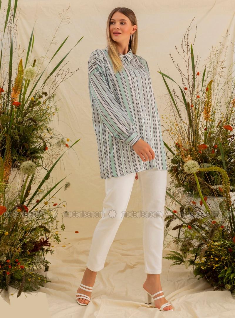 Green - Stripe - Multi - Point Collar - Plus Size Tunic