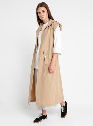 Beige - Unlined - Polo neck - Vest