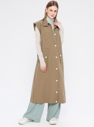Khaki - Unlined - Polo neck - Vest