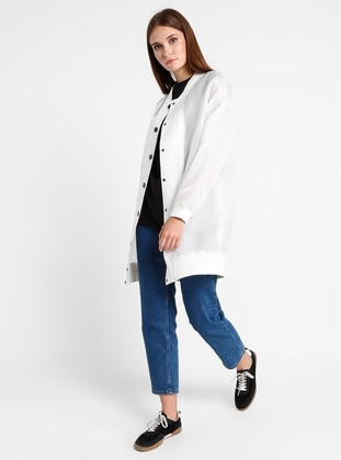 White - Ecru - Fully Lined - Crew neck - Jacket