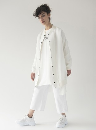 White - Ecru - Fully Lined - Crew neck - Jacket