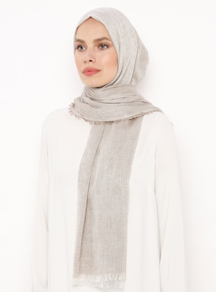 Beige - Plain - Linen - Shawl