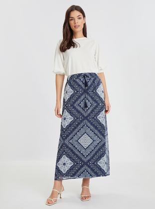Printed - Navy Blue - Skirt