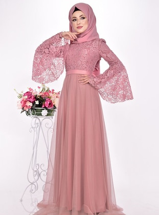 Dusty Rose - Fully Lined - Crew neck - Muslim Evening Dress - AYŞE MELEK TASARIM