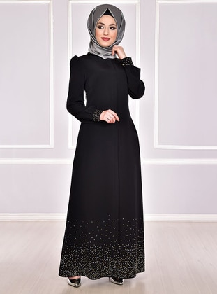 Black - Evening Abaya - AYŞE MELEK TASARIM