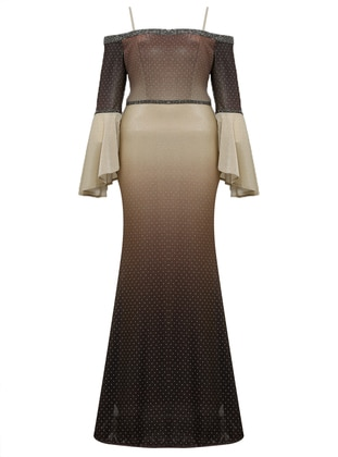 Gold - Fully Lined - Sweatheart Neckline - Muslim Plus Size Evening Dress