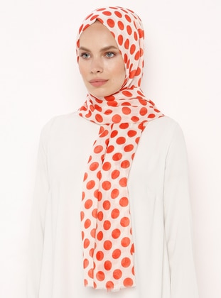 Orange - Cream - Polka Dot - Shawl