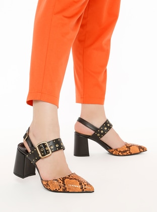 Black - Orange - High Heel - Heels