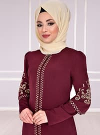 Maroon - Unlined - Muslim Evening Dress