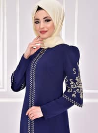 Navy Blue - Unlined - Muslim Evening Dress