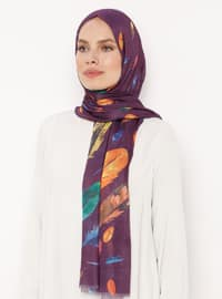 Purple - Printed - Crepe - Shawl