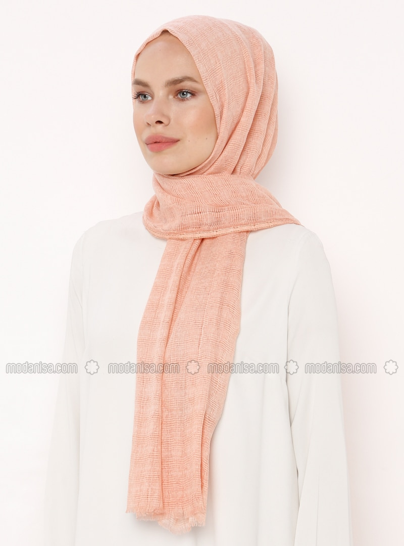 Salmon - Plain - Cotton - Shawl