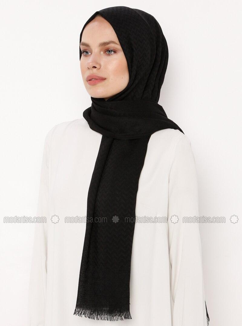Black - Plain - Cotton - Shawl