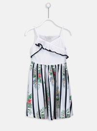 Printed - White - Girls` Dress