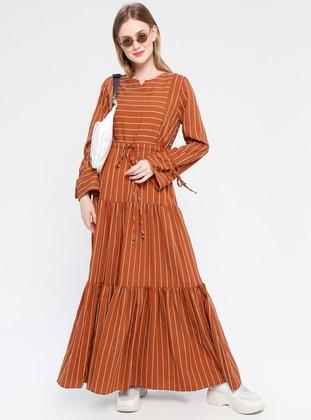 Terra Cotta - Stripe - V neck Collar - Unlined - Dress