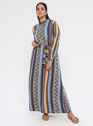 Blue - Navy Blue - Multi - Unlined - Point Collar - Cotton - Plus Size Dress