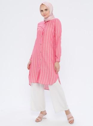 Fuchsia - Stripe - Point Collar - Cotton - Tunic