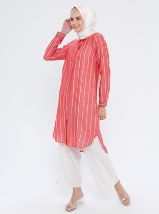 Red - Stripe - Point Collar - Cotton - Tunic