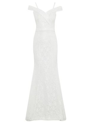 White - Ecru - Fully Lined - Boat neck - Muslim Evening Dress