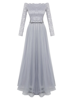 Lilac - Fully Lined - Boat neck - Muslim Evening Dress