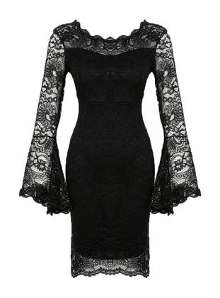 Black - Fully Lined - Boat neck - Muslim Evening Dress