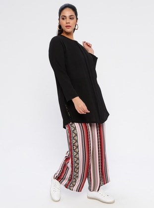 Maroon - Multi - Cotton - Plus Size Pants