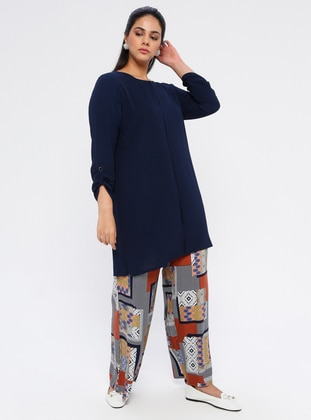 Terra Cotta - Multi - Cotton - Plus Size Pants