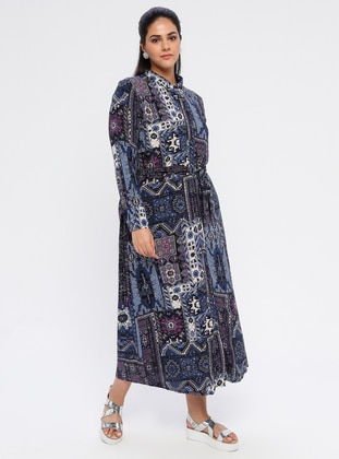 Navy Blue - Multi - Unlined - Point Collar - Cotton - Plus Size Dress