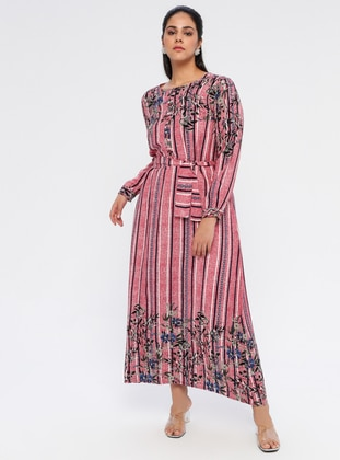 Pink - Multi - Unlined - Crew neck - Viscose - Plus Size Dress