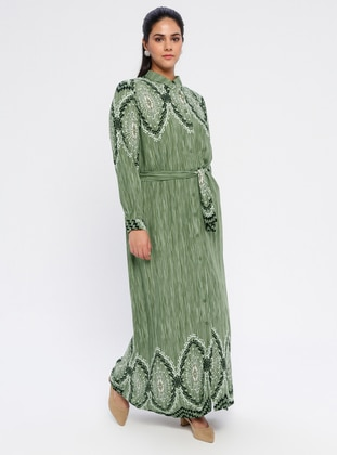 Green - Multi - Unlined - Point Collar - Viscose - Plus Size Dress