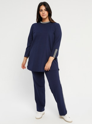 Blue - Navy Blue - Indigo - Crew neck - Unlined - Plus Size Suit