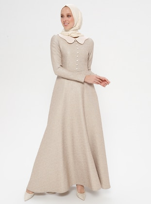 Mink - Unlined - Point Collar - Muslim Evening Dress