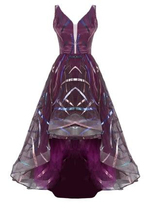 Purple - Stripe - Fully Lined - V neck Collar - Modest Evening Dress