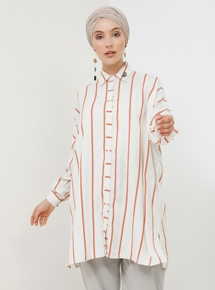Ecru - Terra Cotta - Stripe - Point Collar - Cotton -  - Tunic