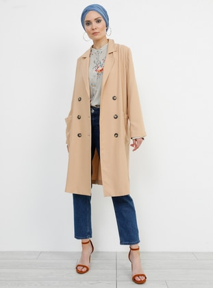 Beige - Unlined - Shawl Collar - Jacket - Refka