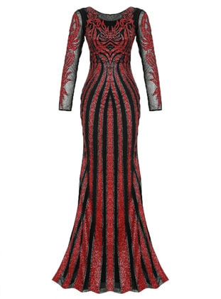 Red - Black - Stripe - Fully Lined - Crew neck - Muslim Evening Dress