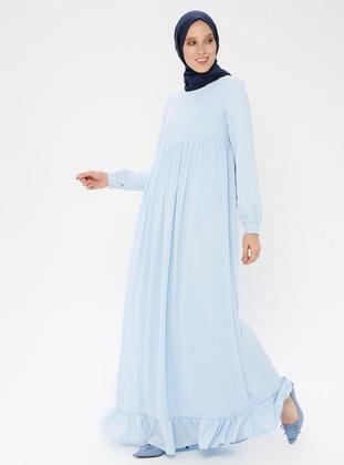 Blue - Baby Blue - Crew neck - Unlined - Dress