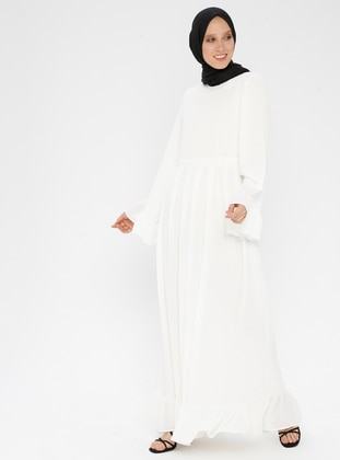 White - Ecru - Crew neck - Unlined - Dress