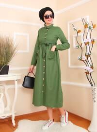 Yeşil - Fransız yaka - Astarsız kumaş - Pamuk - Akrilik - Elbise