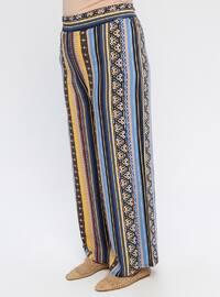 Navy Blue - Multi - Cotton - Plus Size Pants